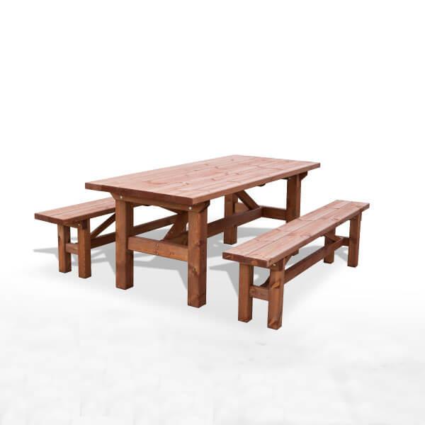 Mesa picnic de madera para jard n madera artesanal - Mesa de madera exterior ...