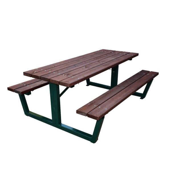 Mesa de p cnic acero madera artesanal estrucmader for Mesa de picnic madera