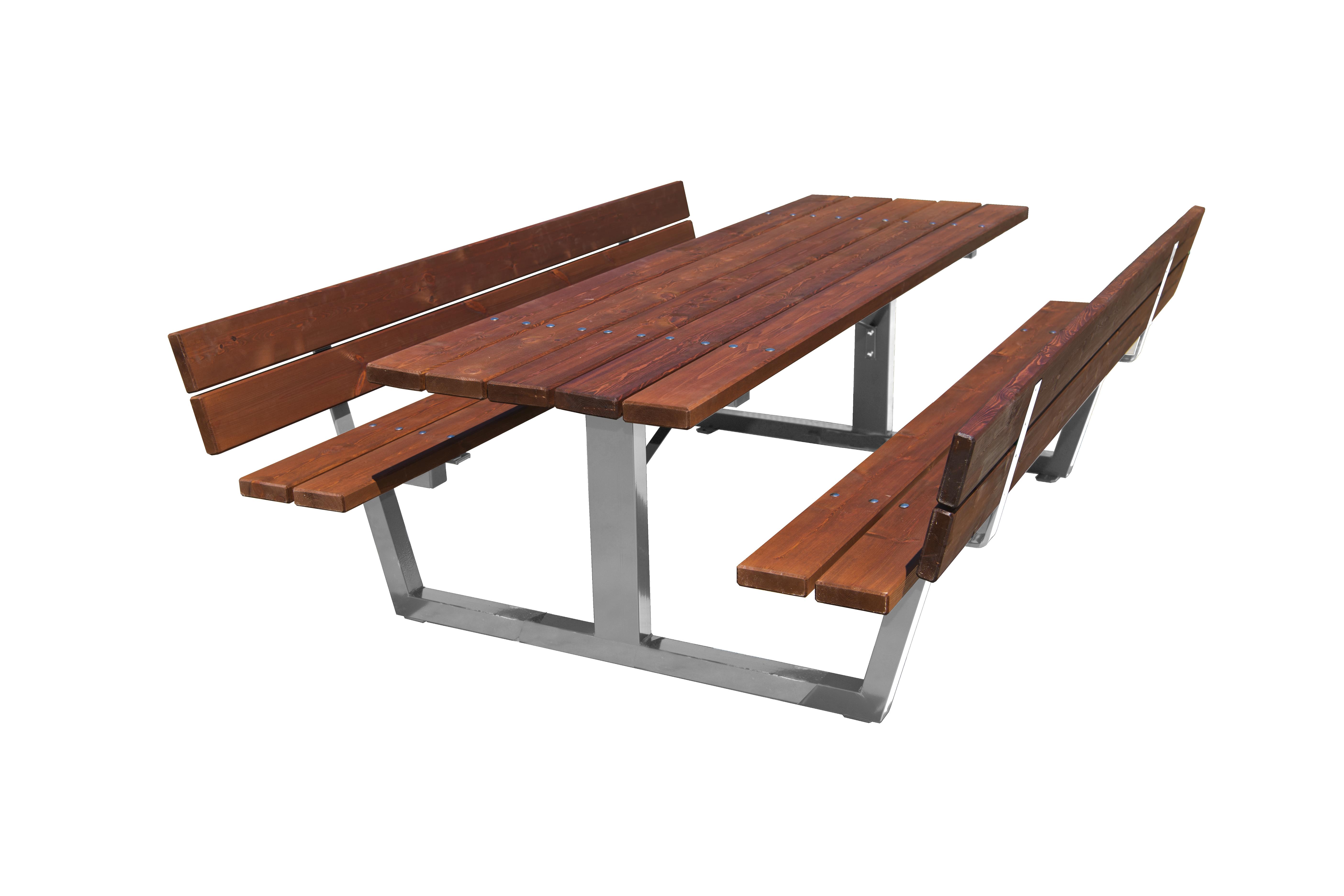 Mesa de Pícnic con respaldo Acero Madera