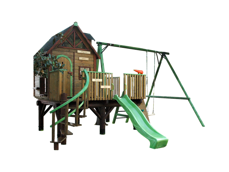 Casita de madera para ni os elevada mod kid estrucmader for Columpios infantiles