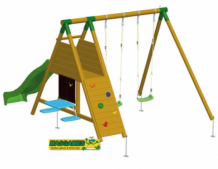 Parque infantil columpio modelo maunaloa estrucmader for Columpios infantiles