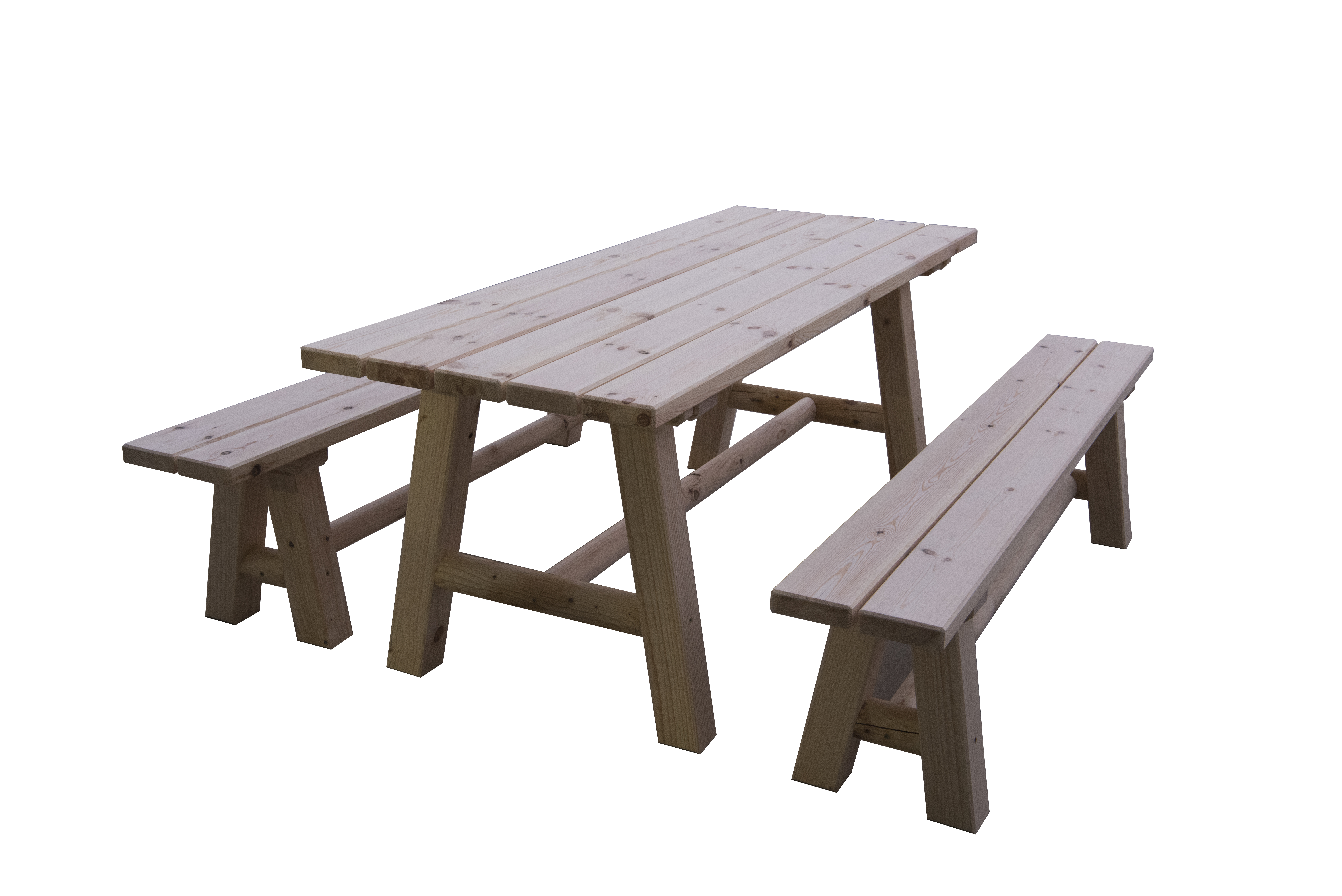 Conjunto mesa y bancos rústicos mod. Pirineos
