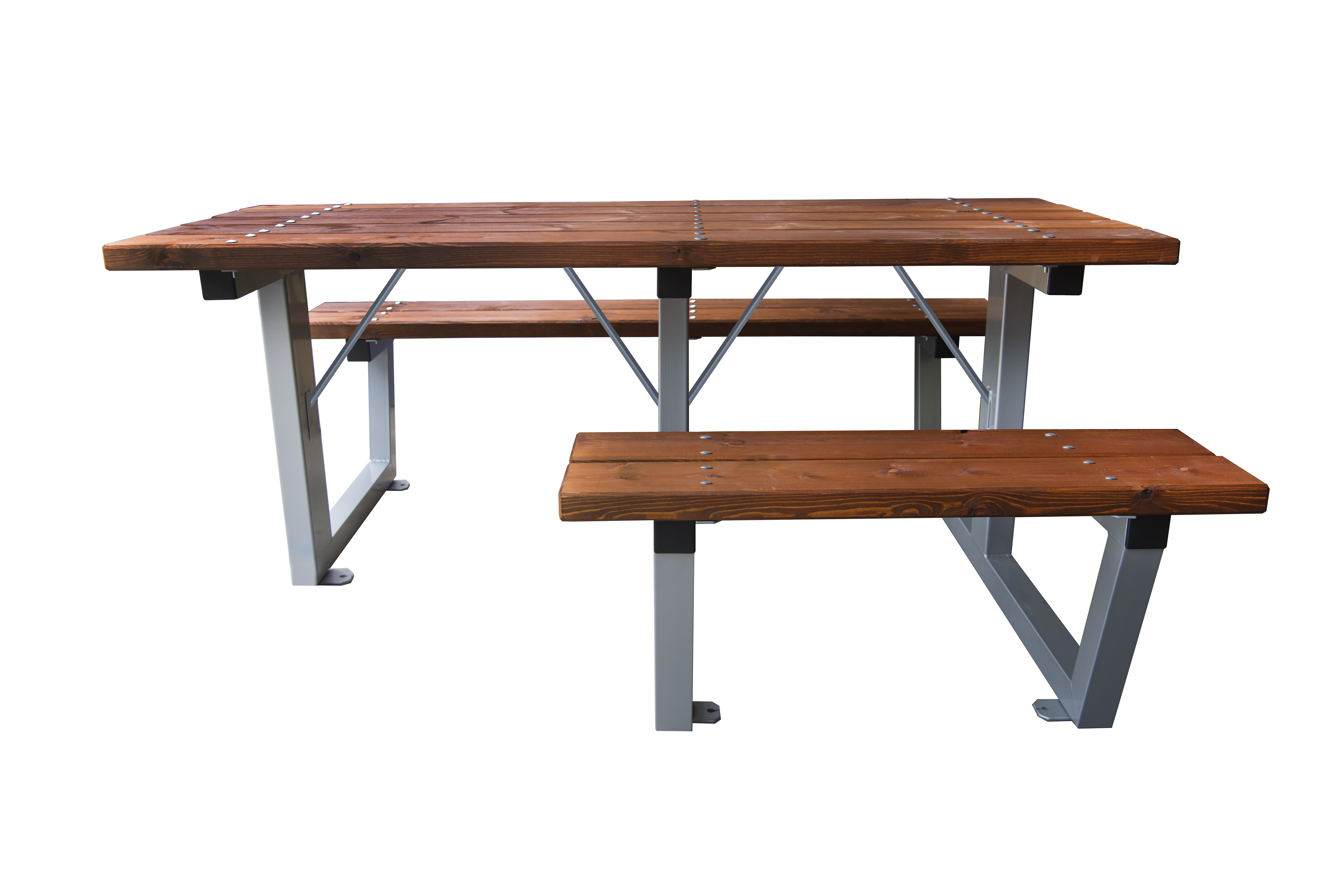 Mesa de picnic Acero/Madera adaptada para silla de ruedas