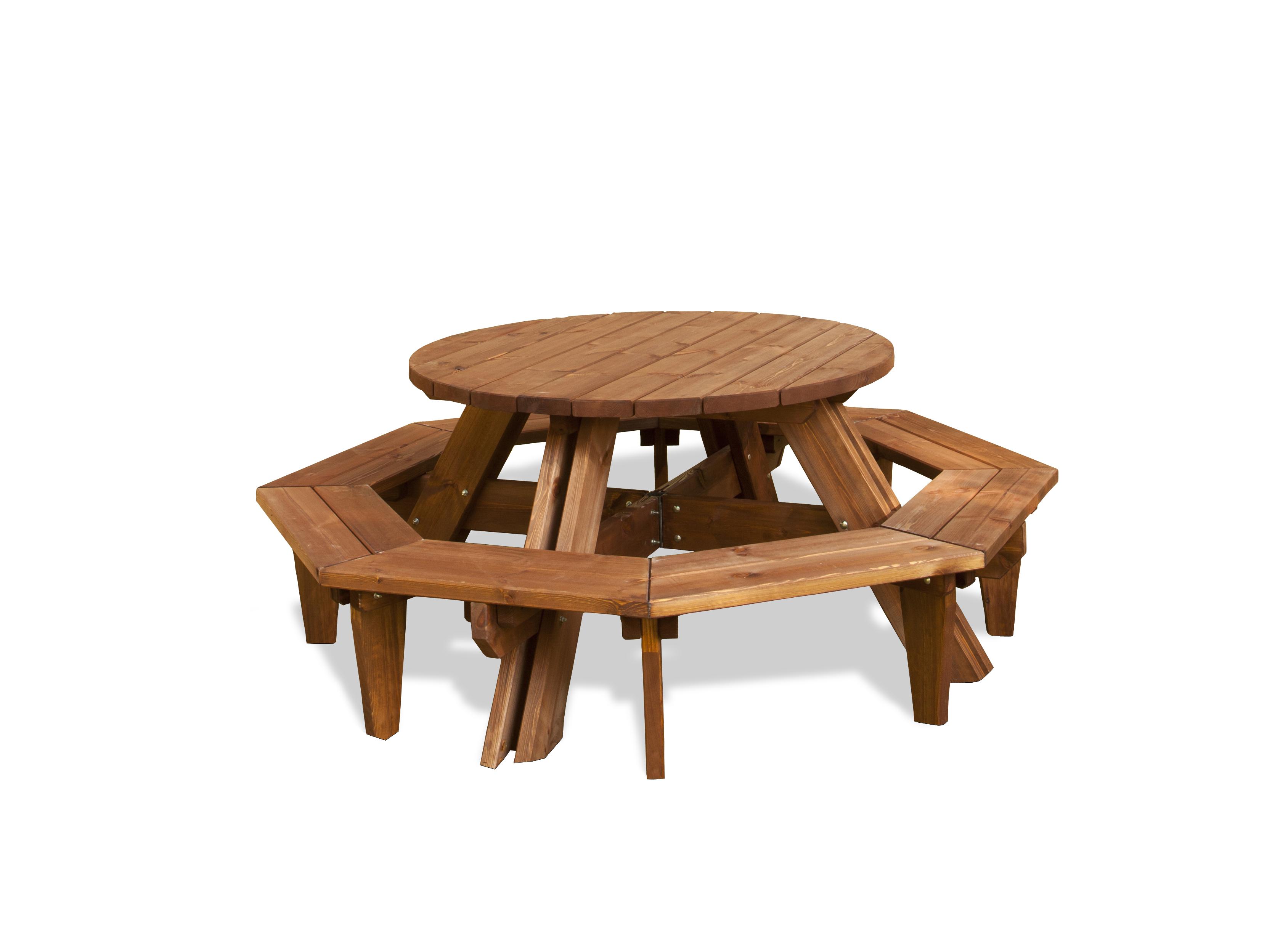 Mesa madera redonda jardin images for Mesa redonda de madera para cocina